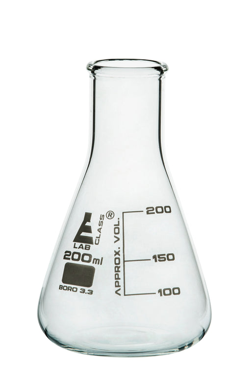 Erlenmeyer Flask, 200ml - Borosilicate Glass - Narrow Neck, Conical Shape - White Graduations - Eisco Labs