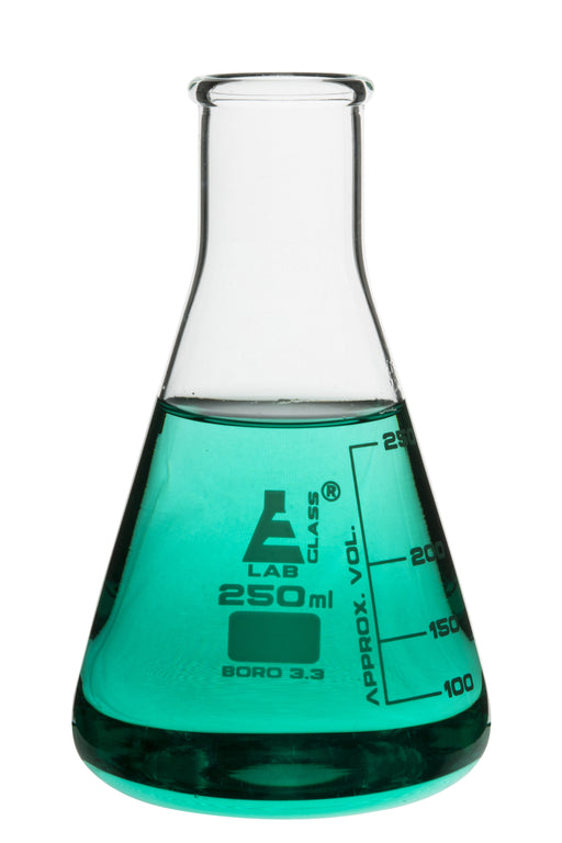 Erlenmeyer Flask, 300ml - Borosilicate Glass - Narrow Neck, Conical Shape - White Graduations - Eisco Labs