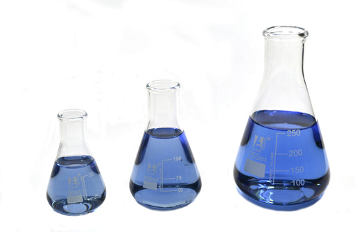 Erlenmeyer Flasks Set, 3 Pieces - 50ml, 100ml & 250ml - Borosilicate Glass - Narrow Neck, Conical Shape - White Graduations - Eisco Labs