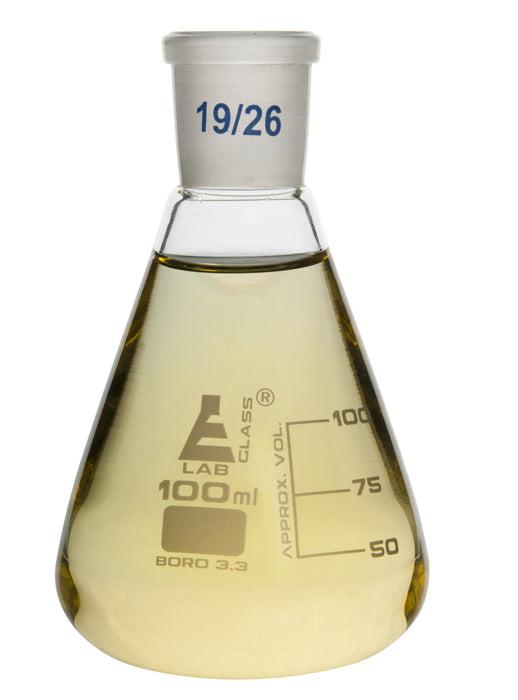 Flask Conical , Erlenmeyer, narrow neck Cap. 100ml, Socket size 19/26