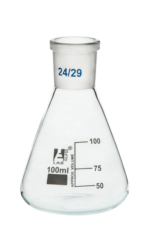 Erlenmeyer Flask, 100ml - 29/32 Joint, Interchangeable - Borosilicate Glass - Conical Shape, Narrow Neck - Eisco Labs