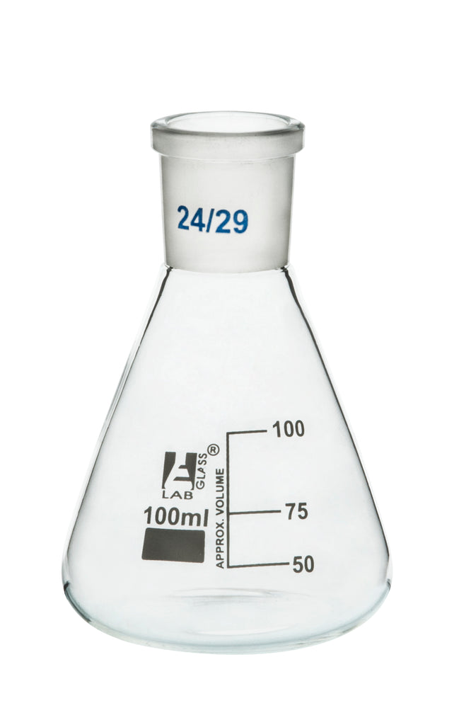 Flask Conical , Erlenmeyer, narrow neck, Cap. 100ml, Socket size 29/32