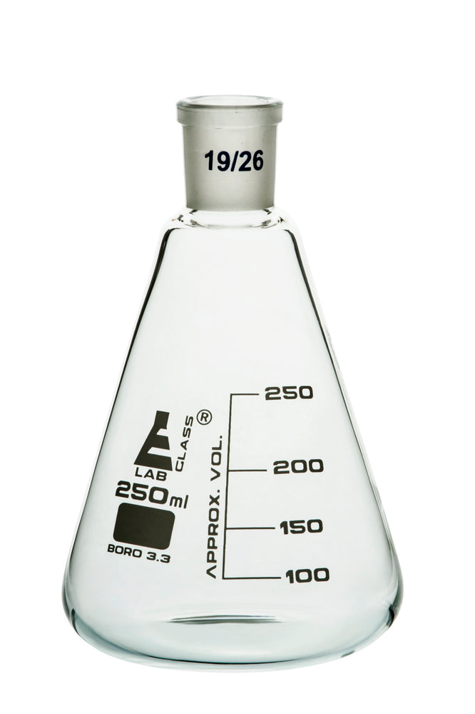 Erlenmeyer Flask, 250ml - 19/26 Joint, Interchangeable - Borosilicate Glass - Conical Shape, Narrow Neck - Eisco Labs