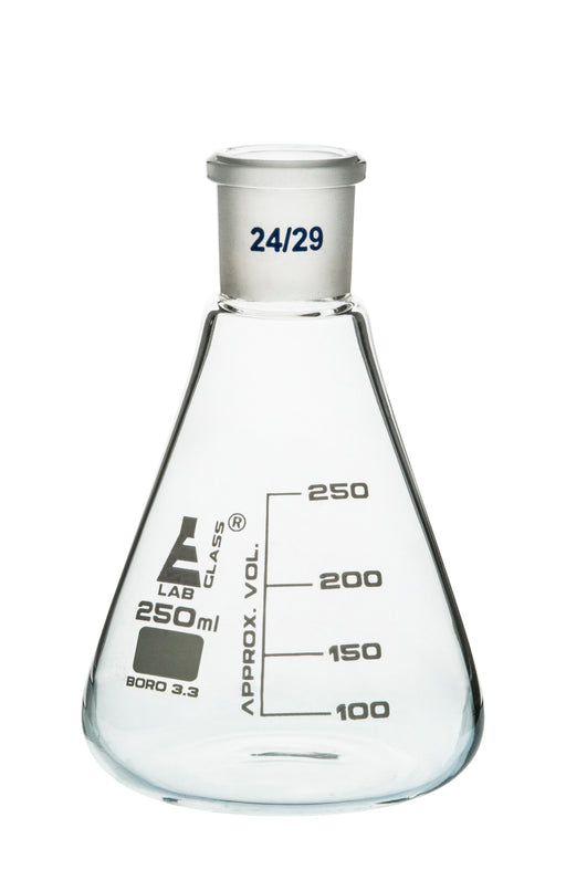 Erlenmeyer Flask, 250ml - 24/29 Joint, Interchangeable - Borosilicate Glass - Conical Shape, Narrow Neck - Eisco Labs