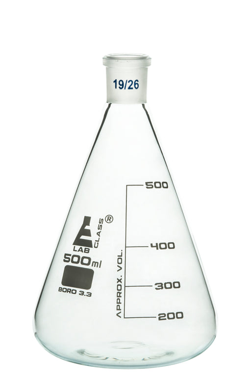 Erlenmeyer Flask, 500ml - 19/26 Joint, Interchangeable - Borosilicate Glass - Conical Shape, Narrow Neck - Eisco Labs