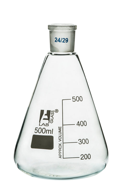 Erlenmeyer Flask, 500ml - 24/29 Joint, Interchangeable - Borosilicate Glass - Conical Shape, Narrow Neck - Eisco Labs