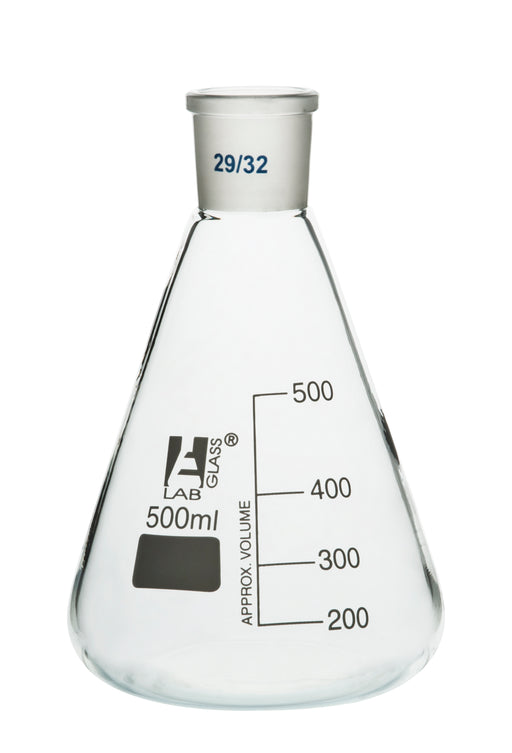 Erlenmeyer Flask, 500ml - 29/32 Joint, Interchangeable - Borosilicate Glass - Conical Shape, Narrow Neck - Eisco Labs