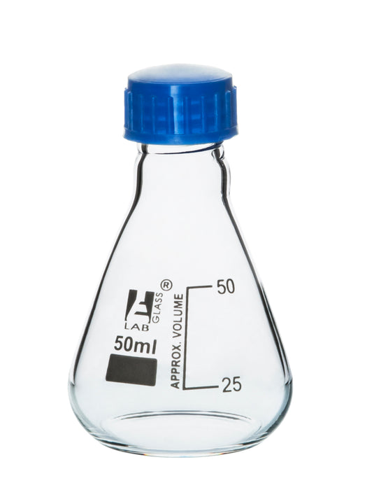 Erlenmeyer Flask, 50ml - Borosilicate Glass - With PTFE Screw Cap - Conical Shape - White Graduations - Eisco Labs
