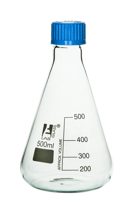 Erlenmeyer Flask, 500ml - Borosilicate Glass - With PTFE Screw Cap - Conical Shape - White Graduations - Eisco Labs
