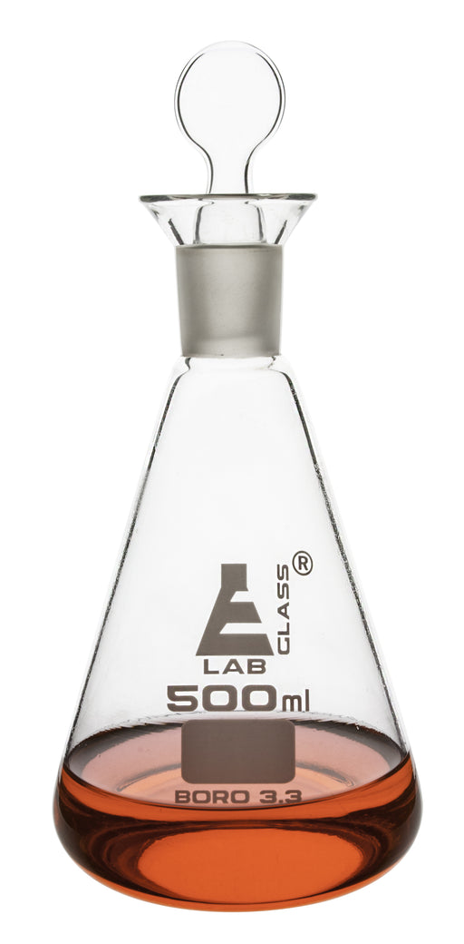 Iodine Flask & Stopper, 1000ml - 29/32 Socket Size, Interchangeable Stopper - Conical Shape - Borosilicate Glass - Eisco Labs