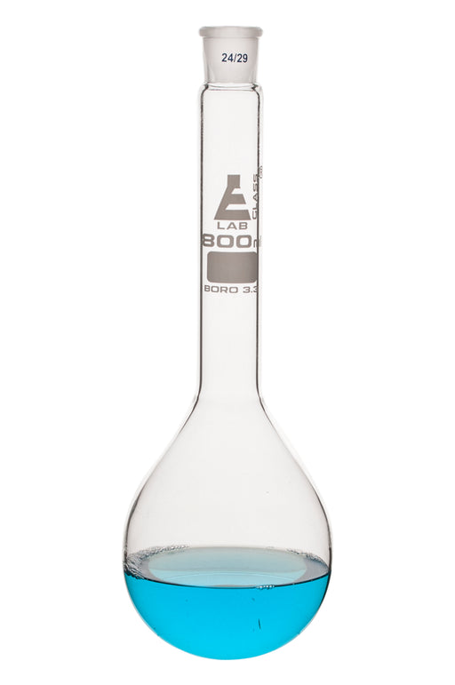 Kjeldahl Flask, 800ml - Borosilicate Glass - Glass Stopper, 24/29 Socket Size - Long Neck, Round Bottom - Eisco Labs