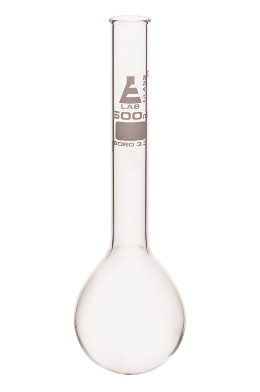 Kjeldahl Flask, 500ml - Borosilicate Glass - Long Neck, Round Bottom - Eisco Labs