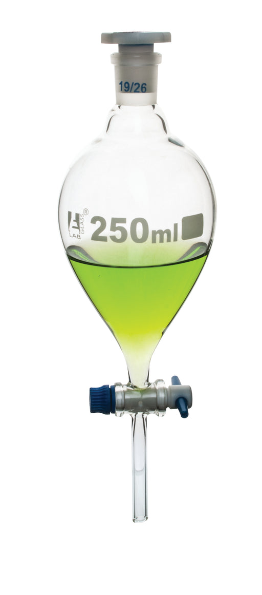 Funnel Separating - Pear shaped, PTFE key stopcock, 250ml