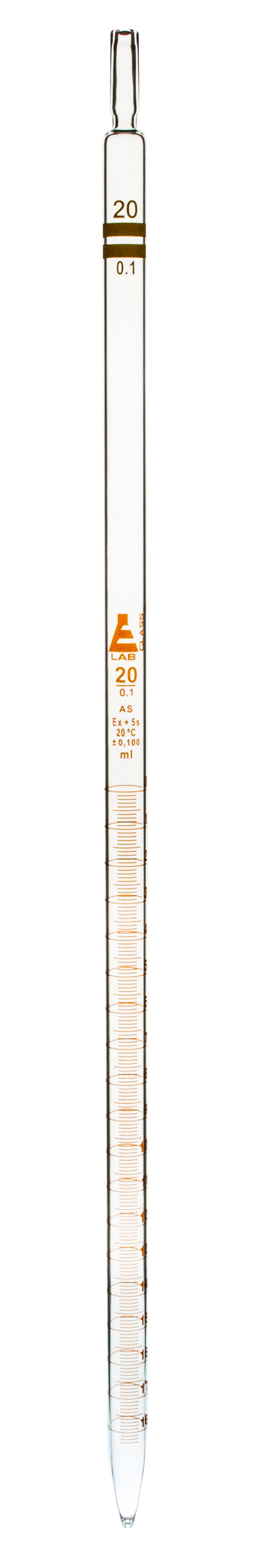 Pipette, 20ml - Class AS, Tolerance ±0.100 - Amber Graduation - Color Code, Yellow - Borosilicate Glass - Eisco Labs