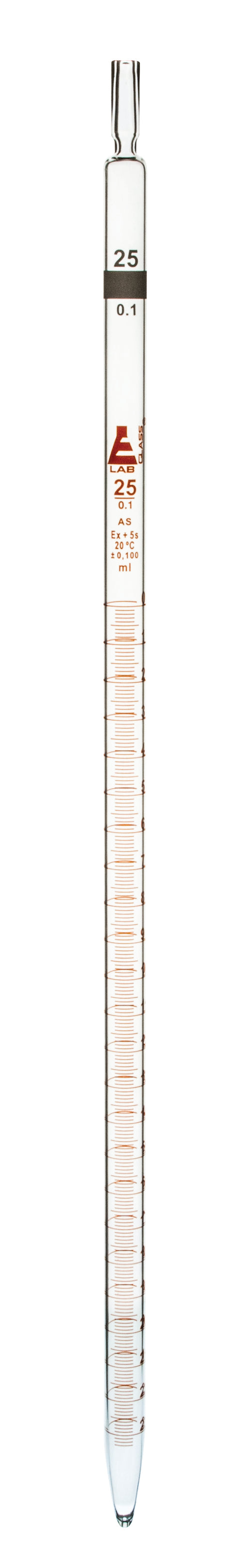 Pipette, 25ml - Class AS, Tolerance ±0.100 - Amber Graduation - Color Code, White - Borosilicate Glass - Eisco Labs