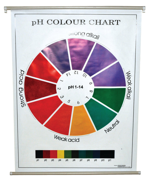 "pH Color Chart, 29x39"" - Polyart Plastic Sheet, with Roller - Eisco Labs"