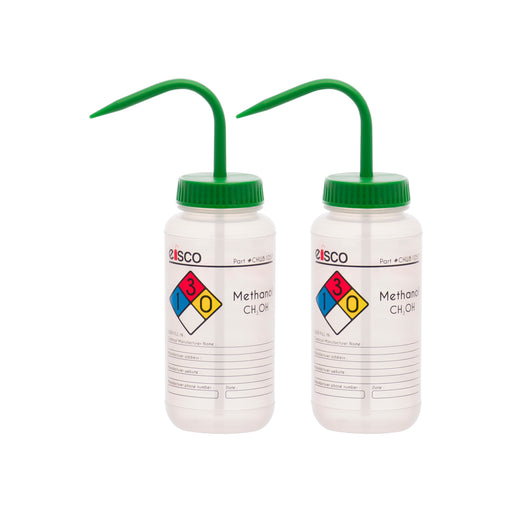 2PK Performance Plastic Wash Bottle, Methanol, 500 ml - Labeled (4 Color)