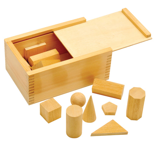 Wooden Geometric Shapes - 16 pieces with Wooden Storage Case.