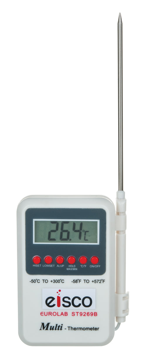 Eisco Labs Digital Thermometer, Wide Range, -50°C to +300°C, Handheld with Probe