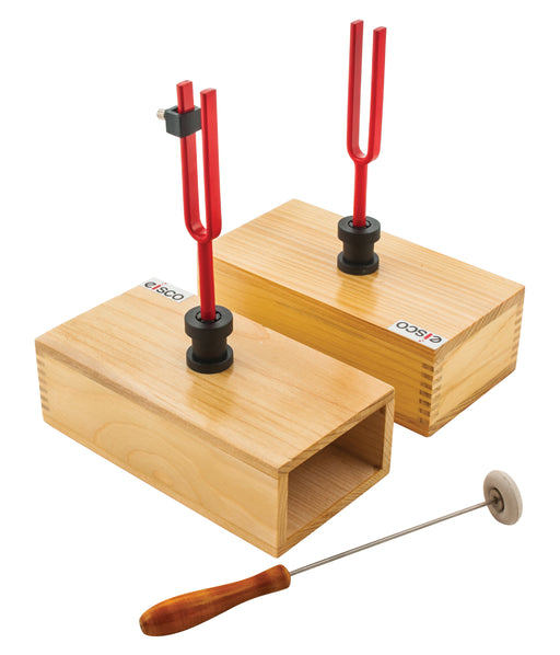 Eisco Labs Pair Of Resonant Tune-able Tuning Forks Mounted On Pine Box