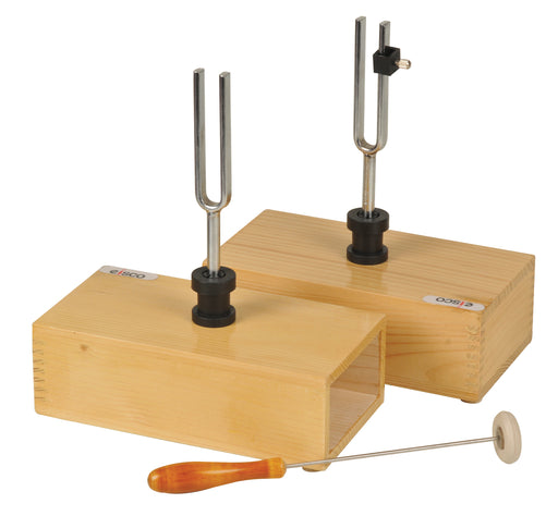 Pair of Steel Tuning Forks (440Hz) in Wood Bases, One Adjustable