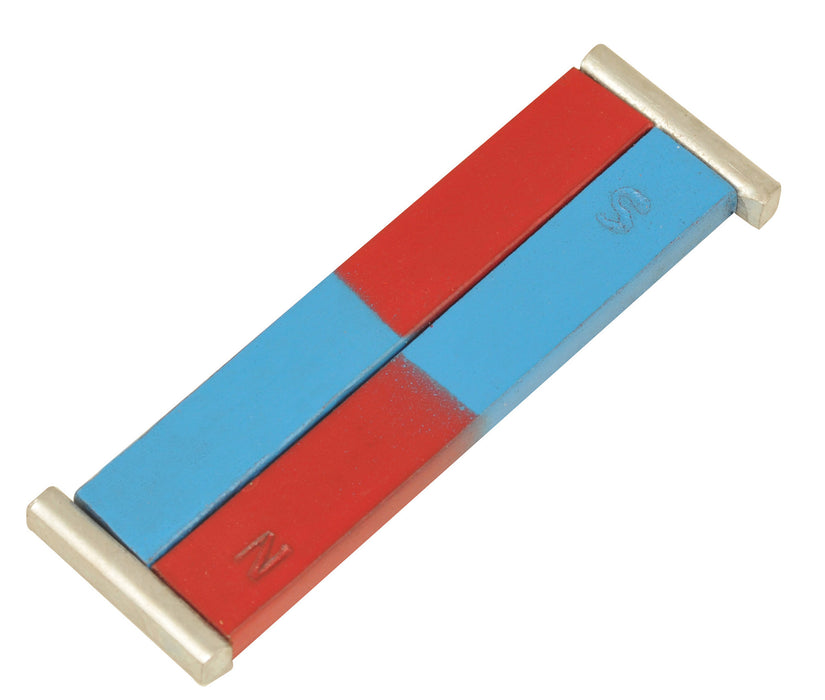 EISCO Painted Blue/Red Bar Magnets - Chrome Steel, 100 x 12 x 5 mm