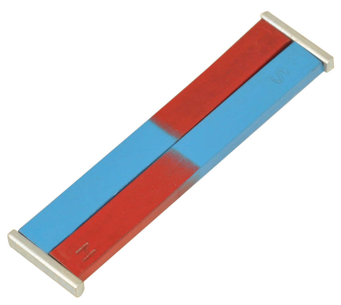 EISCO Painted Blue/Red Bar Magnets - Chrome Steel, 150x12x5mm