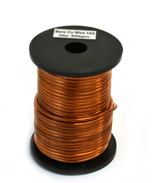 "Copper Wire, Bare, 50ft Reel, 14 SWG (12 AWG) - 0.08"" (2.0 mm) Dia."