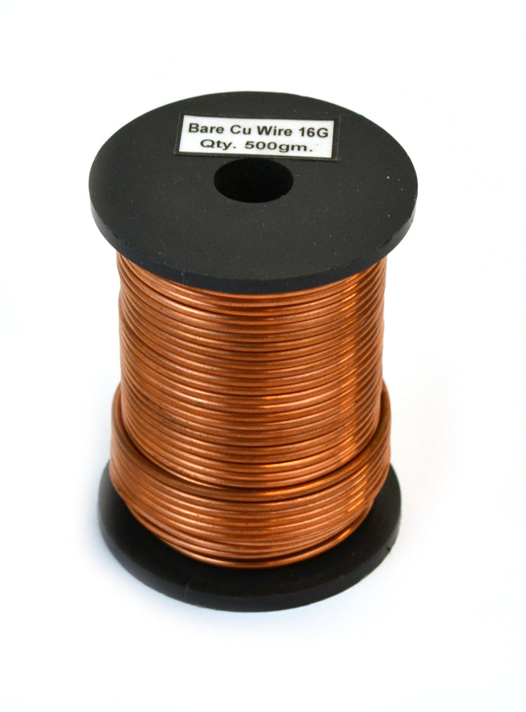 "Copper Wire, Bare, 85ft Reel, 16 SWG (14 AWG) - 0.064"" (1.6 mm) Dia."