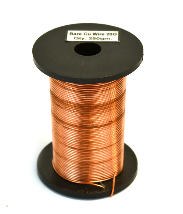 "Copper Wire, Bare, 140ft Reel, 20 SWG (19 AWG) - 0.036"" (0.91 mm) Dia."