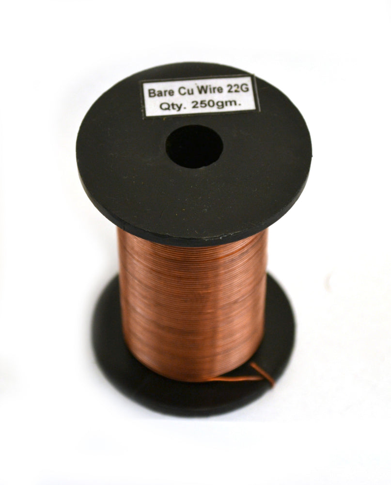 "Copper Wire, Bare, 225ft Reel, 22 SWG (21 AWG) - 0.028"" (0.71 mm) Dia."