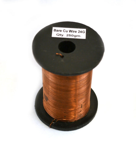 Copper Wire, Bare, 375ft Reel, 24 SWG (23/24 AWG) - 0.022\