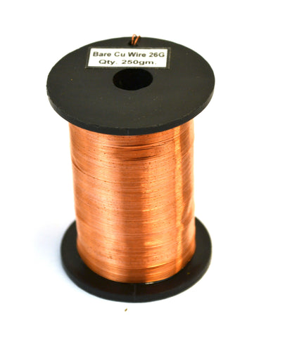 Copper Wire, Bare, 550ft Reel, 26 SWG (24/25 AWG) - 0.018\