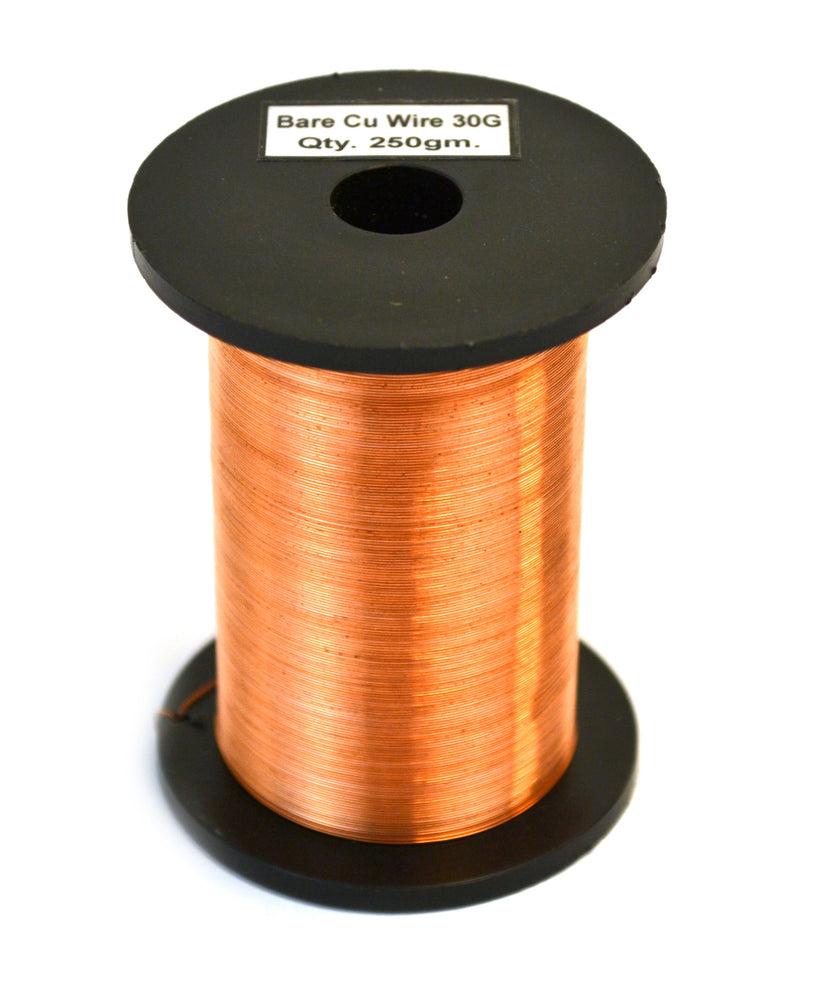 "Copper Wire, Bare, 1150ft Reel, 30 SWG (32/33 AWG) - 0.0124"" (0.32 mm) Dia."