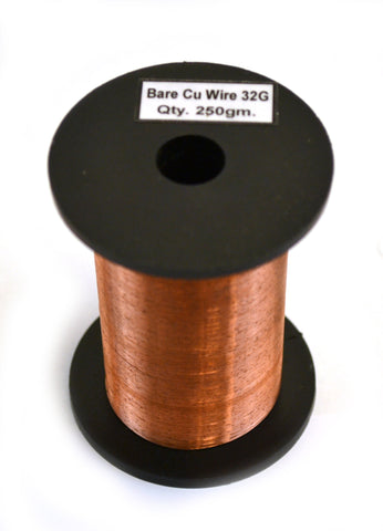 Copper Wire, Bare, 1500ft Reel, 32 SWG (33/34 AWG) - 0.0108\