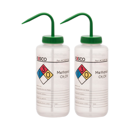 2PK Performance Plastic Wash Bottle, Methanol, 1000 ml - Labeled (4 Color)