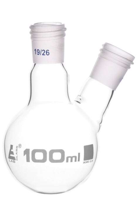 Distillation Flask with 2 Necks, 100ml Capacity, 19/26 Joint Size, Interchangeable Screw Thread Joints, Borosilicate Glass - Eisco Labs