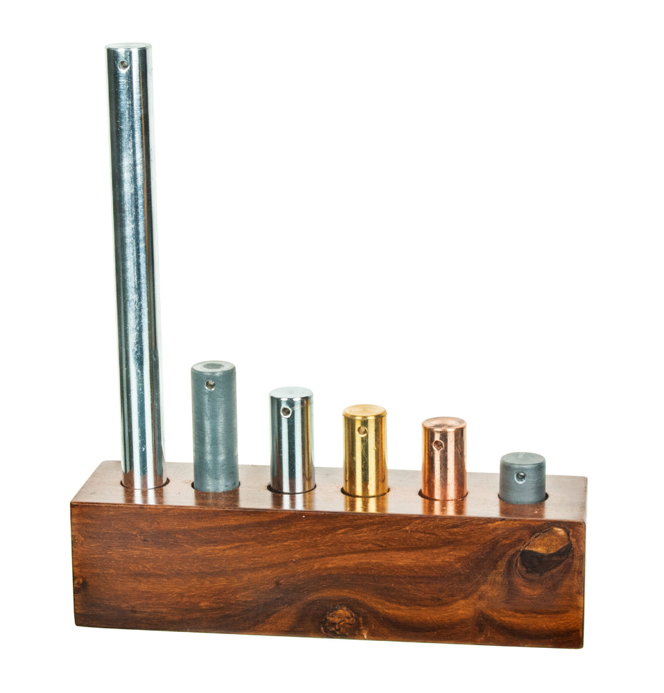 6pc Equal Mass Metal Cylinders Set - Copper, Lead, Brass, Zinc, Iron & Aluminum - For Specific Heat Experiments