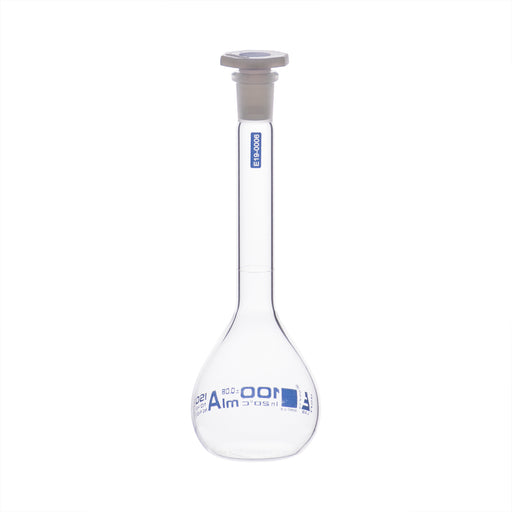 Volumetric Flask, 100ml - Class A, ASTM - Polypropylene Stopper - Blue Graduation - Borosilicate Glass