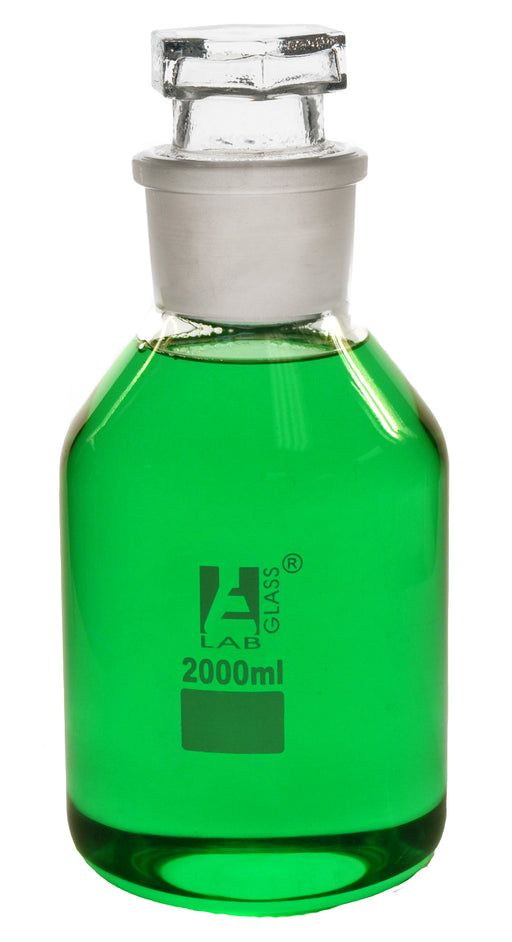 Eisco Labs 2000ml Reagent Bottle - Borosilicate Glass with Wide Mouth and Hexagonal Stopper
