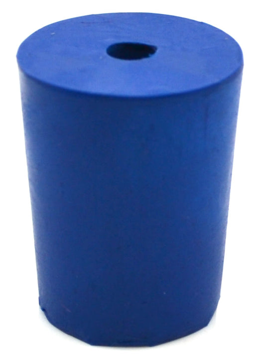 Neoprene Stoppers, 1 Hole - Blue - Size: 18mm Bottom, 21mm Top, 26mm Length - Pack of 10