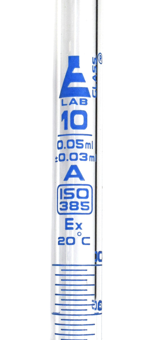Burette, 10ml - Class A, DIN 385 Compliant, Borosilicate Glass with Glass Key Stopcock, 0.05ml Graduations - Eisco Labs