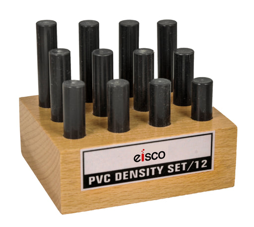 12pc Cylindrical Bars Density Set, PVC - Wooden Storage Block