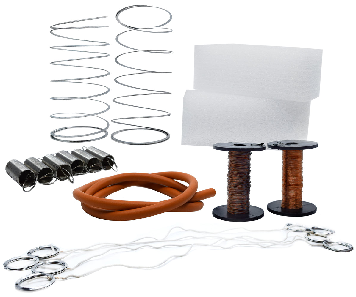 Elastic Material Kit, Elasticity Experiments (Springs, Rubber Tubing, Copper Wire, Foam Blocks, Elastic Cords with Metal Loop Ends) - Eisco Labs