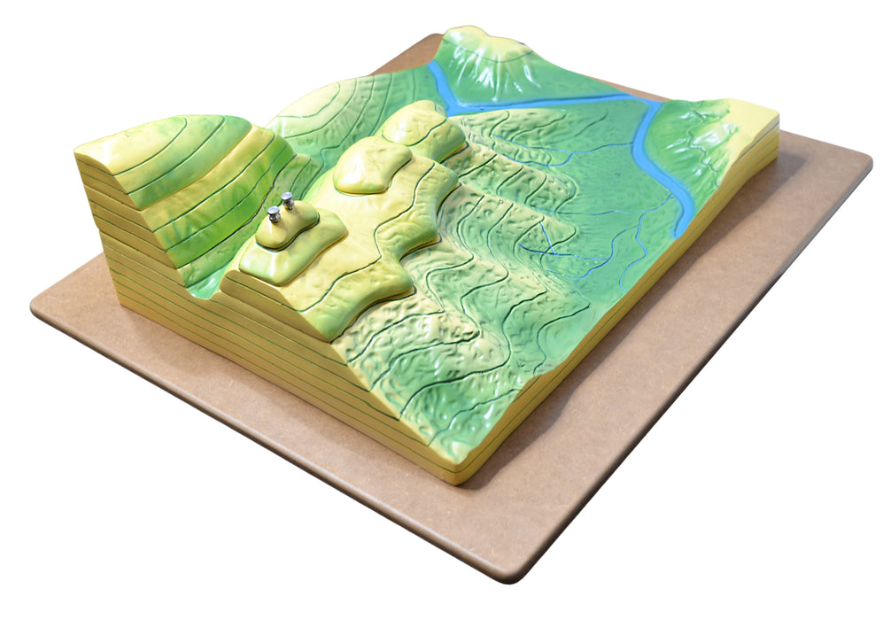 Contour Map Demonstration Model, 20 Inch - Separates into Multiple Parts - Mounted - Great for Geographical Study - Eisco Labs