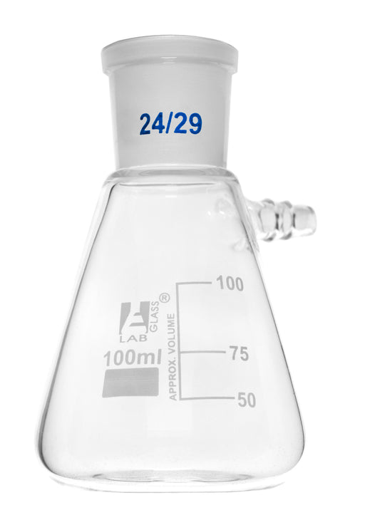 Buchner Filtering Flask, 100ml - Socket Size 24/29 -  Interchangeable Joint - Side Arm - Borosilicate Glass - Eisco Labs