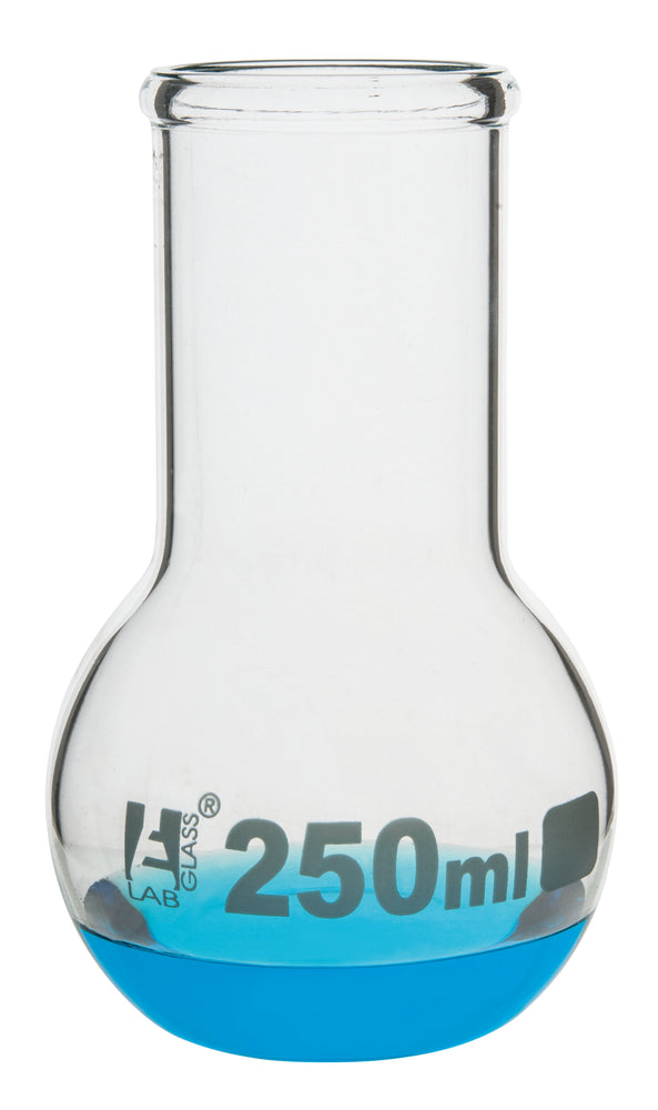 Boiling Flask, 250ml - Borosilicate Glass - Flat Bottom, Wide Neck - Eisco Labs