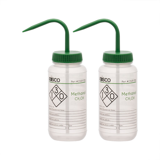 2PK Performance Plastic Wash Bottle, Methanol, 500 ml - Labeled (2 Color)
