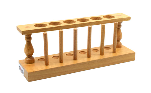 Wooden Test Tube Stand & Draining Rack - Holds 6 Tubes