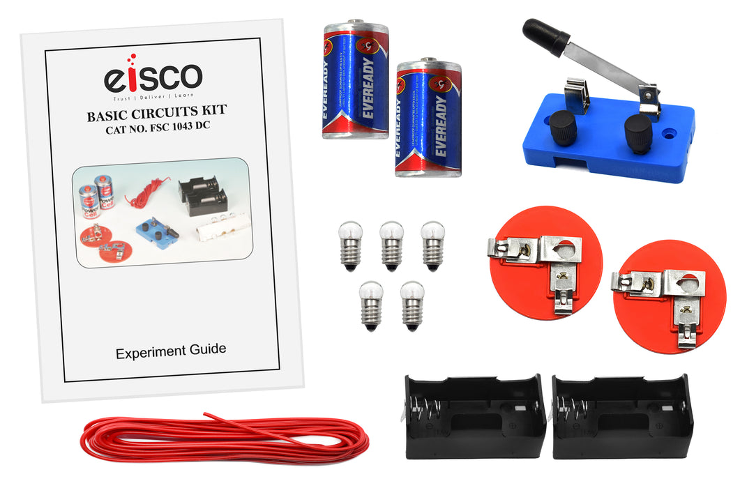 Eisco Labs Basic Beginner Circuit Kit For Teaching Series and Parallel Circuits- Switch, (2) 'D' Batteries w/ Holders, (2) Light Holders, (5) Bulbs, Bulk Wire